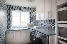 blue and gray laundry room wallpaper design ideas