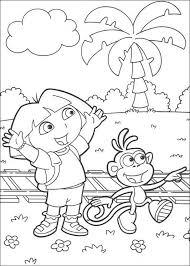 boots the monkey and dora the explorer coloring pages hellokids com