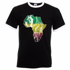 Lion Flag Ethiopian Lion Of Judah Rasta Rastafari African Flag Mens Ringer T