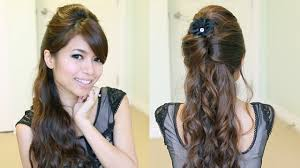 haircut for long curly hair elegant prom half updo hairstyle curly hair tutorial bebexo