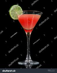 red martini drink red strawberry cocktail decorated lime martini stock photo