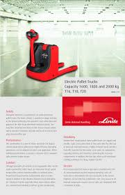 pallet trucks t 16 t 20 linde material handling pdf catalogue