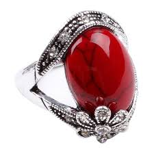 red silver rings images Ca flower style turquoise fashion women 39 s jewelry ring jpg