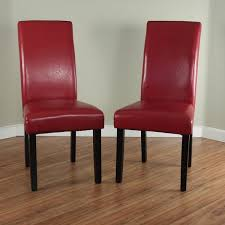 Red Dining Room Chair Villa Faux Leather Red Dining Chairs Set Of 2 Free Shipping