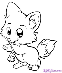 wolf coloring pages kids draw baby wolf cute animals clip