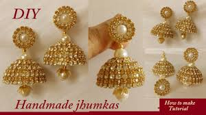 jhumka earrings diy how to make silk thread bridal jhumka earrings at home