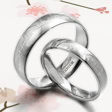 lord of the rings wedding band his and promise rings silver wedding titanium rings set