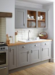 Kitchen Design B Q Kitchen Design Grey Kitchen Cabinets With Butcher Block Stacked