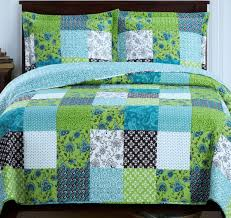 turquoise quilted coverlet com country cottage patchwork blue green quilt coverlet