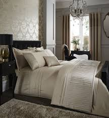 catherine lansfield diamante pleats gold duvet cover set king