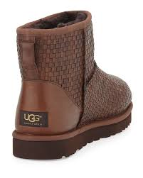s ugg australia brown leather boots ugg woven leather mini boot in brown lyst