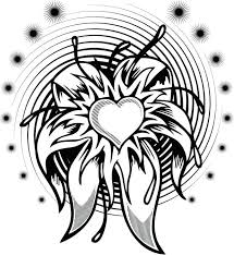 flowered heart winged coloring page holiday pages valentine with