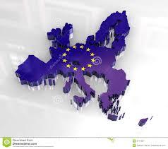 European Union Map 3d Flag Map Of European Union Royalty Free Stock Photography