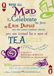 mad hatter bridal shower tea party invitations mad hatter bridal