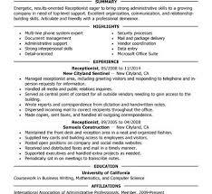 Medical Front Office Resume Administrative Receptionist Resume X 425 Receptionist Cv Sample