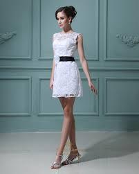 short white lace sheath illusion neckline wedding dress with black