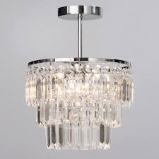 vasca crystal bar bathroom chandelier semi flush chrome