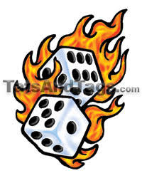 flaming dice temporary designs by custom tags