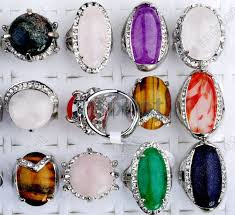 rings natural stones images Wholesale mix lot 15pcs silver p crystal stone ring fashion jpg