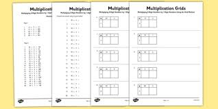 multiplying 2 digit numbers by 1 digit numbers using grid method