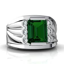 white emerald rings images 14kt gold lab emerald and diamond 9x7mm emerald_cut men 39 s ring jpg