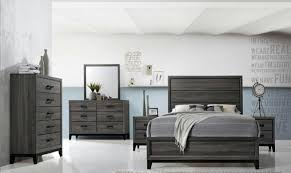 global furniture kate modern grey matt finish king bedroom set 5