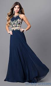 long two piece navy blue prom dress with pockets