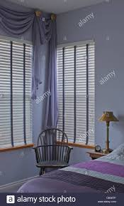 purple plum bedroom home interior window treatment blinds and