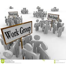 several work groups of workers divided tasks royalty free stock