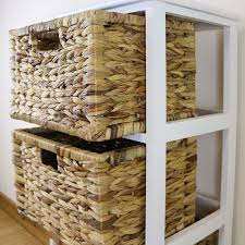 white 4 drawer basket wooden cabinet home storage unit lounge