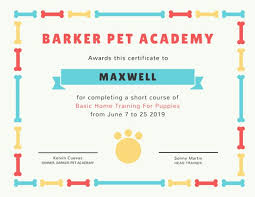 fun certificate templates fun bone border pet academy certificate templates by canva