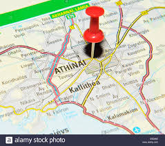 Athens Map Athens On Map Stock Photo Royalty Free Image 72206993 Alamy