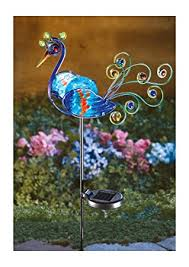 solar lighted multicolor peacock decorative metal