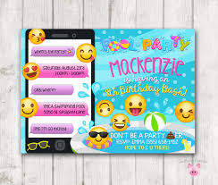 Invitation Card For Pool Party Printable Emoji Pool Party Party Invitation Swim Party Emoji