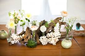 coastal centerpieces garden driftwood coral coastal wedding centerpieces