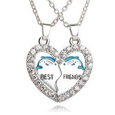 blue heart crystal necklace images Heart blue dolphin friendship crystal necklace for women best jpg