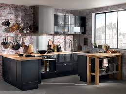 meuble de cuisine noir cuisine blanc laque plan travail bois 11 cuisine bois et noir