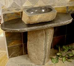 natural boulder pedestal sink from carved stone creations click