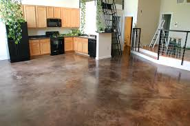 decorative resurfaced concrete of interior floor in pool house