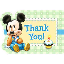 mickey mouse 1st birthday mickey mouse 1st birthday thank you notes 8pk parties4kids