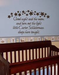 Custom Nursery Wall Decals Family Stickers Custom Baby Name Quote Goodnight Nursery Wall