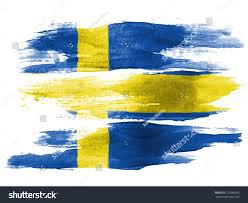 swedish flag painted on white paper stock photo 120389635