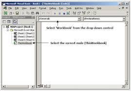 excel vba free online reference guide event handling