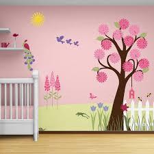 Girl Nursery Stencils For Walls Flower Garden Wall Mural Stencil - Girls bedroom wall murals