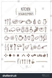 kitchen themed doodles designers several handdrawn stock vector