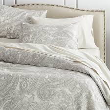 mariella cream grey duvet covers and pillow shams mariella bed linens modernize the traditional paisley pattern in tonal grey and cream