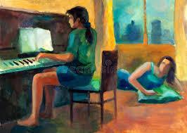 woman playing the piano stock ilration ilration of jazz 26669590