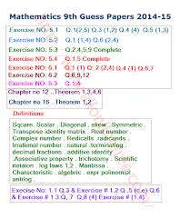 guess paper mathematics 9th class 2014 15 all online free