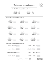 5th grade math worksheets estimating sums of money greatschools