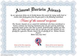 award certificate samples almost darwin award